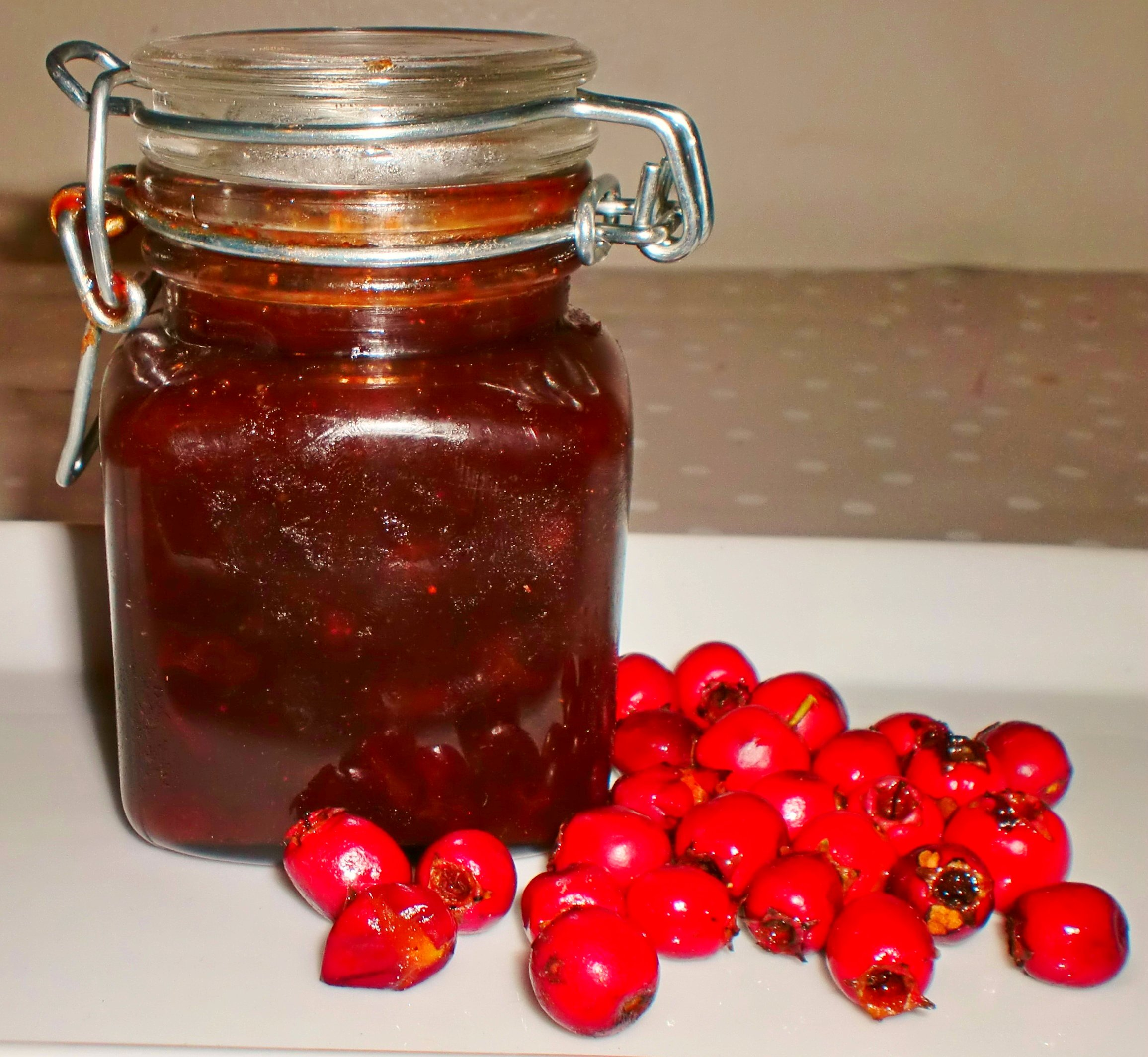Hawthorn chutney with haws